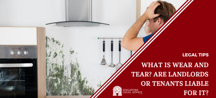 man shocked after seeing stain on kitchen wall